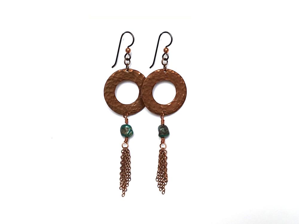 Hammered Copper & Turquoise Tassel Earrings