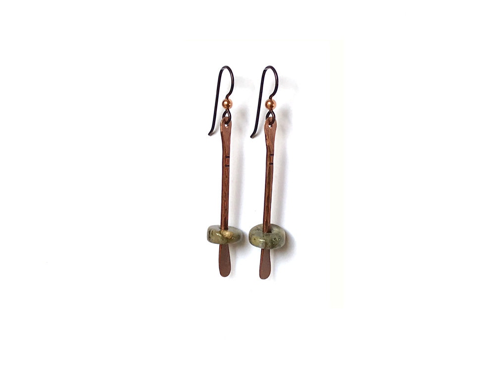 Floating Bead Forged Copper Earrings – Ocean Jasper