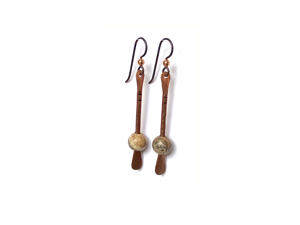 Floating Bead Forged Copper Earrings – Picture Jasper