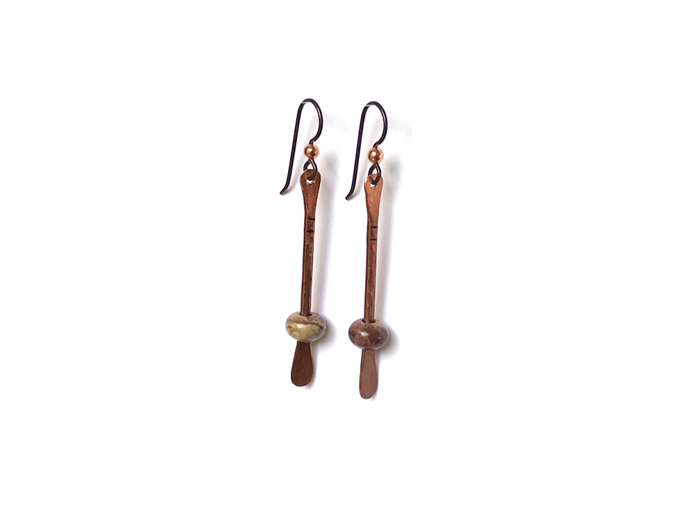 Floating Bead Forged Copper Earrings – Rainbow Jasper