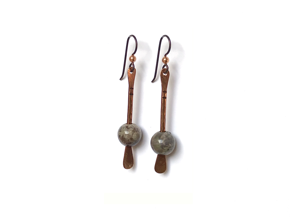Floating Bead Forged Copper Earrings – Rainforest Agate