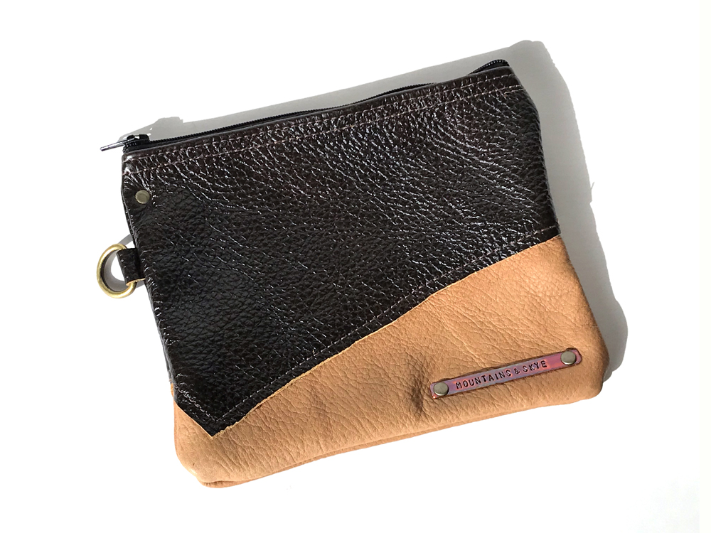 Two Toned Zippered Leather Pouch