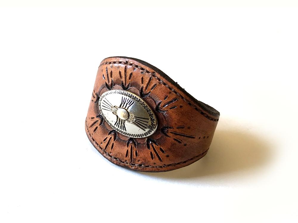 Southwestern Leather Concho Cuff Bracelet – Small