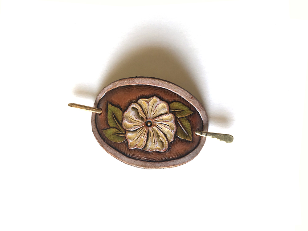 Small Leather Hair Clip – Wild Rose